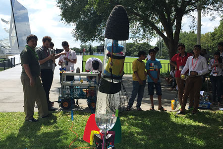 Student engineers are ready to launch a water rocket